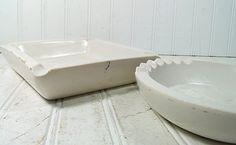 Vintage Set of 2 White Enamel Concrete AshTrays  by DivineOrders, $24.00....(craft ideas)