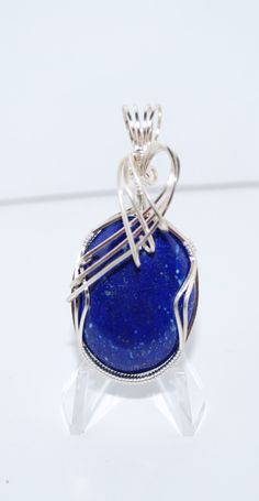 Lapis Lazuli and Silver Wire Wrapped Pendant by RusticsRocksandWraps on Etsy