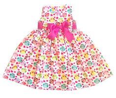 Vestido com estampa de corujinhas, com tecido 100% algodão e faixa rosa na cintura. Tamanhos:  1 ano  2 anos  3 anos  4 anos  5 anos  6 anos  Não deixe de especificar o tamanho na hora da compra.