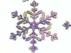 Hand Marbled Glitter Snowflake Ornaments 5 1/2x5 by MetalAndMarble #MetalAndMarble https://www.etsy.com/shop/MetalAndMarble