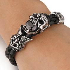 Amazon.com: Men's Stainless Steel Genuine Leather Bracelet Bangle Cuff Agate Silver Black Skull Wing Cross Braided Gothic: Link Bracelets: Jewelry