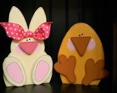 Cute easter craft wood bunny chick
