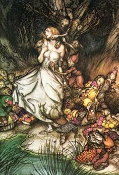 Arthur Rackham's illustration of Goblin Market, by Christina Rossetti.  On the subject of beasts of the underworld and women's creativity - Rossetti's poem is a whirlwind exploration of women's ambivalent relationship to their own creativity - how we fear it, protect it, nurture it and waste it.