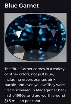 Blue garnets are extremely rare so consequentially command exorbitant retail prices due to the law of supply and demand ( The most expensive gemstone of them all ) See information of this incredible value below Gems And Minerals, Crystals Minerals, Crystals And Gemstones, Raw Stone Jewelry, Crystal System, Crystal Healing Stones, Garnet Stone, Science And Nature