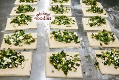 Recipe for spanakopita or spinach pie, flaky Greek pastry triangles encased in puff pastry and filled with spinach, feta cheese, and fresh dill Spinach Feta Pie, Frozen Spinach, Puff Pastry Recipes, Pie Recipes, Spanakopita Recipe, Greek Pastries, Homemade Pita Bread, Dough Recipe, Quiches