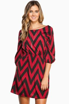 a36d82457405b Forever Zig Zag Cinch Dress in Bordeaux / Shop Sosie #cheveron #print  #cinched