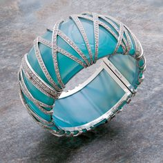 Natural Agate & Diamond Bangle Bracelet