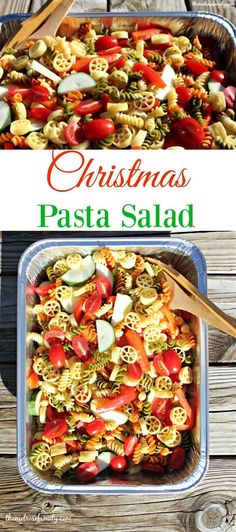 A bright and fresh Christmas Pasta Salad is the perfect dish to bring for a holiday gathering.  Just look at those gorgeous colors!