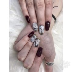 #nails #marble #maroon #gold