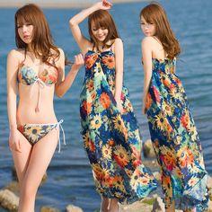 日本女士泳装泳衣女三件套 性感钢托裙式显瘦比基尼小胸聚拢