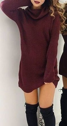 fall outfit ideas / burgundy knit dress