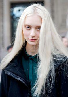 white hair blue eyes pale skin