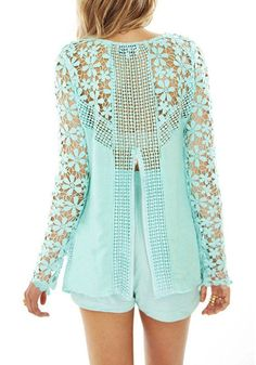 Floral Crochet Mint Top- With Back Zip