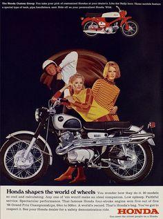 An original advertisement features a 1967 Honda Black Bomber motorcycle. A fantastic retro detail print! Honda Cycles, Honda Bikes, Honda Cb, Womens Motorcycle Helmets, Motorcycle Posters, Motorcycle Design, Motorcycle Girls, Classic Honda Motorcycles, Vintage Motorcycles