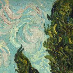 Cypresses (detail) ~ Vincent van Gogh   Lone Quixote   #VincentvanGogh #vangogh #PostImpressionism #art #painting #detail