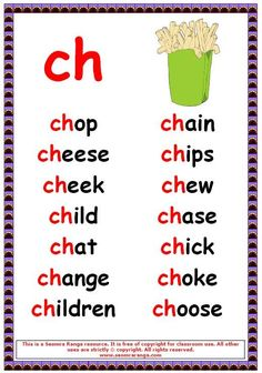 Phonics poster to show words beginning in ch. Phonics Reading, Teaching Phonics, Kindergarten Reading, Preschool Learning, Teaching Reading, English Phonics, English Vocabulary, Teaching English, English Words