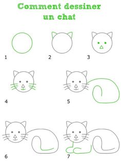 Cat drawing for kids Art Drawings For Kids, Doodle Drawings, Drawing For Kids, Animal Drawings, Easy Drawings, Doodle Art, Art For Kids, Cat Doodle, Drawing Lessons