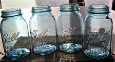 Vintage Quart Ball Perfect Mason Blue Aqua Glass Canning Jars with Zinc Lids