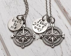 Compass necklace, customized, mother daughter necklace, couples necklace, friend necklace, sister necklace, gift for friend