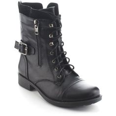 Refresh Daviccino AA39 Women's Lace Up Military Side Zip Flat Heel... ($39) ❤ liked on Polyvore featuring shoes, boots, ankle booties, black, black lace-up boots, lace up platform booties, lace up bootie, black booties and lace-up booties