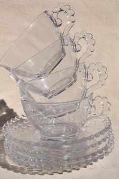 Tea Cups and Saucers   ... candlewick glass, vintage tea cups & saucers w/ beaded edge patter
