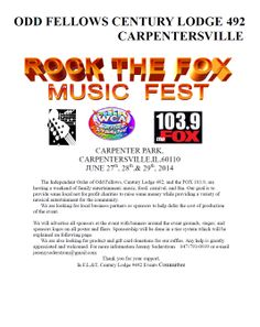 Mark your calender for the 1st Annual Rock the Fox Music Fest in Carpenter Park!! Bring the entire family!