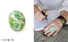 Beautiful ring for woman with big natural stone - green agate. Stone was created by nature and it has no analogues in drawing, color or texture. Natural stone enclosed in a metal frame the silver color. Beautiful Lights, Beautiful Rings, How To Clean Metal, Big Naturals, Agate Ring, Stylish Rings, Green Agate, Handmade Rings, Color Ring