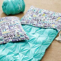 such a cute sleeping bag! // PBteen pin tuck sleeping bag + pillowcase
