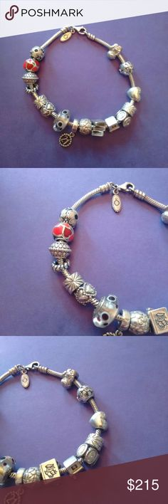 Pandora Bracelet With Charms (AMAZING DEAL) The charms are mainly in EUC, but some have flaws. All are authentic. Let me know if you have any questions and check out my other items Pandora Jewelry Bracelets