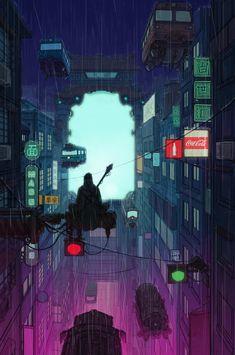 #cyberpunk #art #graphic #future   九龙, by PengTao Fang on RHB_RBS