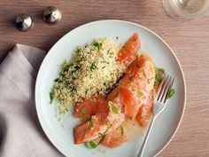 Ellie's Roasted Salmon with Shallot Grapefruit Sauce : Use the natural essences of ginger, ruby-red grapefruit juice, honey and cayenne pepper to bring roasted salmon to new, healthy heights. via Food Network