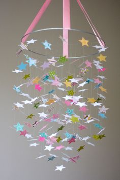 The Brooke Star Mobile -Great for Baby Shower Gifts, Nurseries, Bedrooms, Photographer Prop. $68.00, via Etsy.