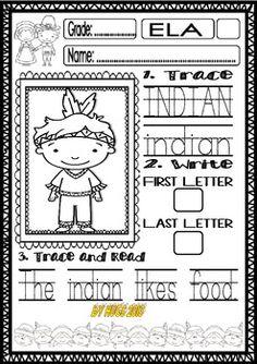 Thanksgiving Word Work Freebie for Little Kids