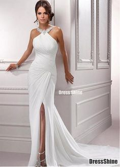 Stunning Chiffon & Satin Sheath Halter Necklkine Beaded Appliques Slit Wedding Dress - Wedding Dresses - Weddings