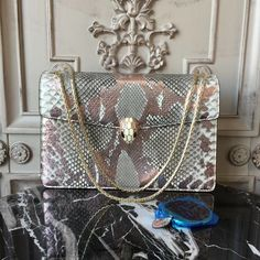Bulgari Serpenti 27cm Large with Two Gussets Bag Python Leather Fall Winter 2017 Collection Silver White Multi
