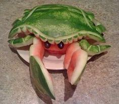 Watermelon carving: cute crab