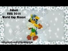 Rainbow Loom 2D FULECO 2014 (FIFA World Cup mascot). Designed and loomed by Kate Schultz of Izzalicious Designs. Click photo for YouTube tutorial. 06/20/14.