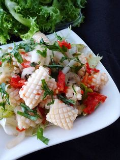 Nadire Atas on the Best Calamari and Wine Vietnamese Squid Salad Calamari Recipes, Squid Recipes, Fish Recipes, Seafood Recipes, Asian Recipes, Cooking Recipes, Healthy Recipes, Asian Foods, Healthy Food