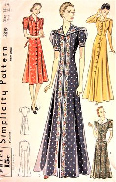 1930s FAB HouseCoat Robe Hostess Gown or Dress Pattern SIMPLICITY 2879 Classic Thirties Design 4 Styles Bust 32 Vintage Sewing Pattern