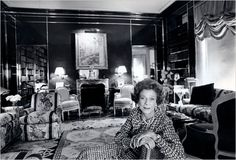 Brooke Astor in the library designed by Albert Hadley.