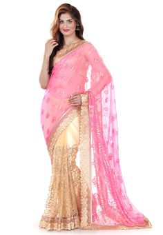 Pink and Beige Faux Georgette Brasso and Net Saree with Blouse: SXZ2687