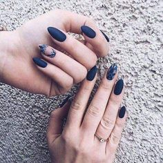 Matte navy blue with geometric floral accent