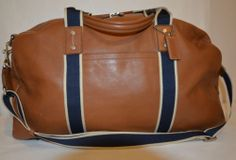 USED Coach Tan Leather & Navy Blue Trim Men's Large Duffle Travel Bag Only $150.00 with FREE SHIPPING!!