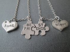 Best Friends Puzzle Piece Aunt/ Niece Necklaces Set by HazelSarai Niece Quotes, Liz And Liz, Best Auntie Ever, Niece Gifts, Crazy Aunt, For Elise, Aunt Shirts, Best Friend Necklaces, Daughter Of God