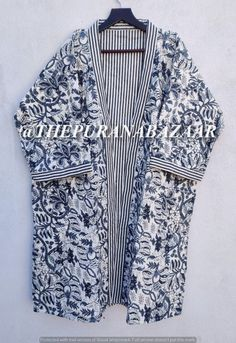 Cotton Kimono, Cotton Fabric, Cotton Jacket, Winter Kimono, Kimono Dressing Gown, Shibori Fabric, Jackets For Women, Clothes For Women, Belted Coat