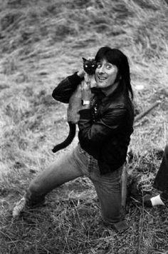 Steve Perry & his Siamese cat.