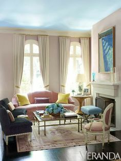 Ruthie Sommers - Farrow & Ball Middleton Pink on the walls.