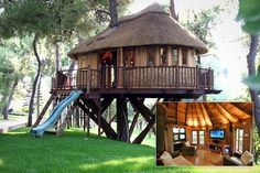 Blue Forest Tree House--UK Eclectic Design Ideas, Pictures, Remodel and Decor Luxury Tree Houses, Cool Tree Houses, Style At Home, Future House, My House, House Roof, Kids House, Tree House Designs, Design Exterior