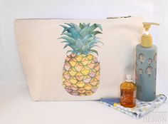 Pineapple Canvas Wash Bag, Large Zipper Pouch, Makeup Bag, Toiletry Bag, Accessory Bag by ceridwenDESIGN on Etsy https://www.etsy.com/listing/248085661/pineapple-canvas-wash-bag-large-zipper