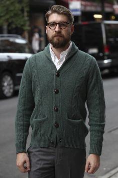 Chunky cardigan with white shirt.. smart casual